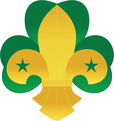A fleur-de-lis positioned on a trefoil, in the original Scouting colors chosen by Lord Baden-Powell
