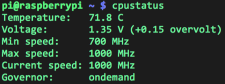 Output of my cpustatus script with Turbo Mode enabled.
