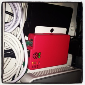 My Raspberry Pi sitting in the network closet.