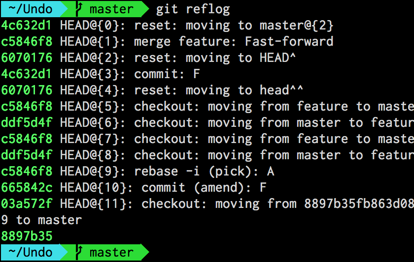Output of git-reflog for the HEAD reference