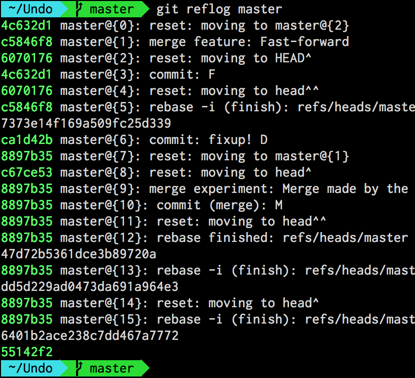 Output of git-reflog for the master branch