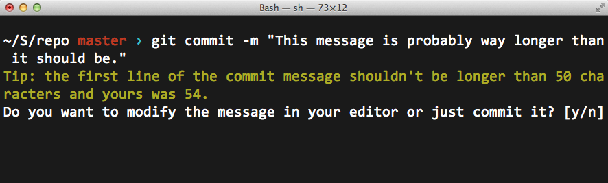 The commit-msg shell script in action