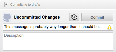 Commit message validation in GitHub for Mac